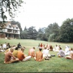 Prabhupada and disciples on the lawn