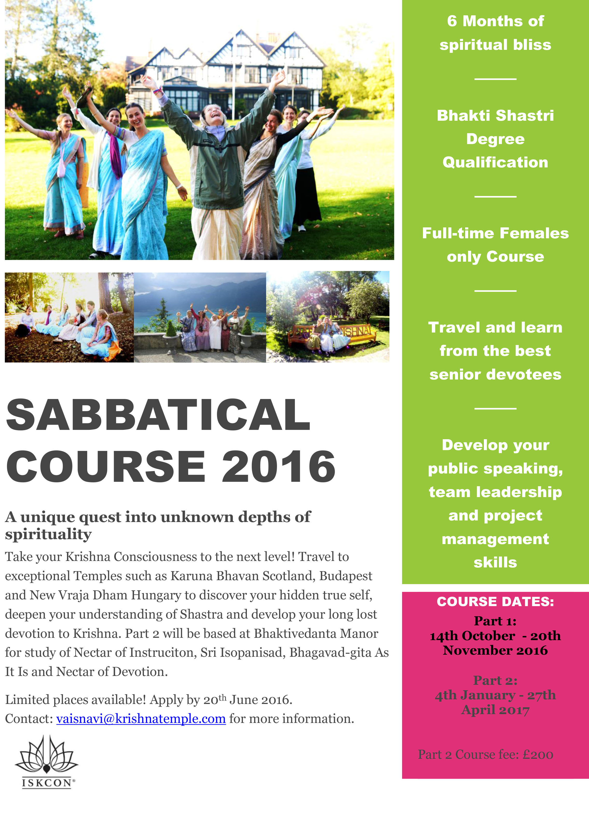 Sabbatical Course ladies 2016 Bhaktivedanta Manor